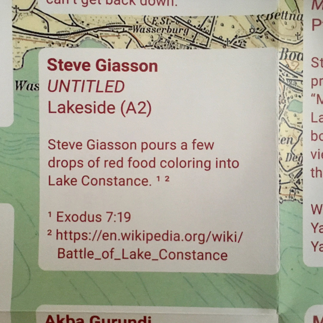 - untitled (Steve Giasson pours a few drops of red food coloring into Lake Constance)