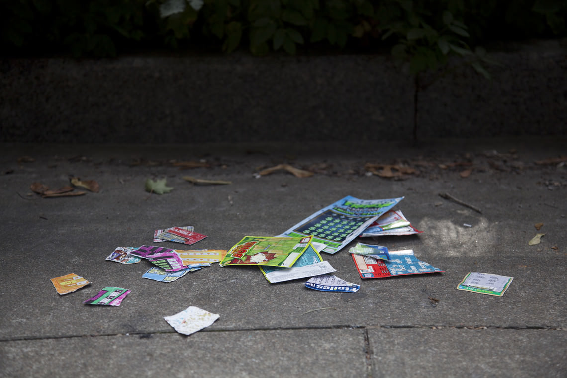 - untitled (torn lottery tickets found by the artist and scattered on the ground here and there)