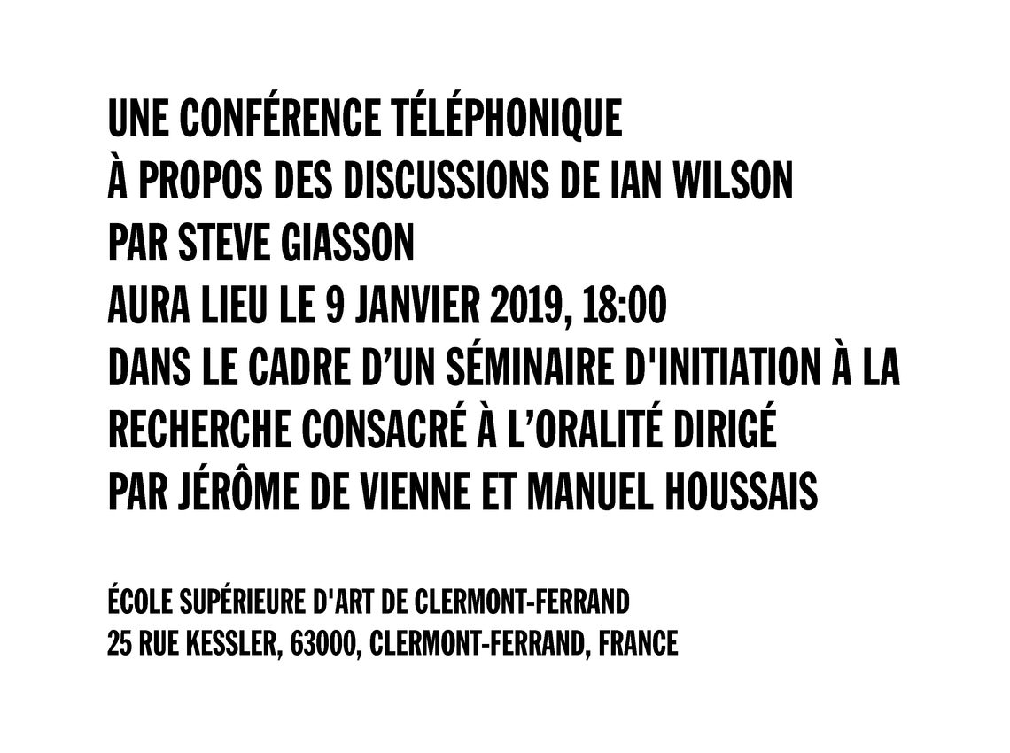 - A TELEPHONE LECTURE ABOUT THE DISCUSSIONS BY IAN WILSON BY STEVE GIASSON